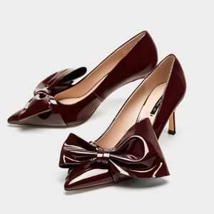 Zara Assymetrical Patent Bow Pumps